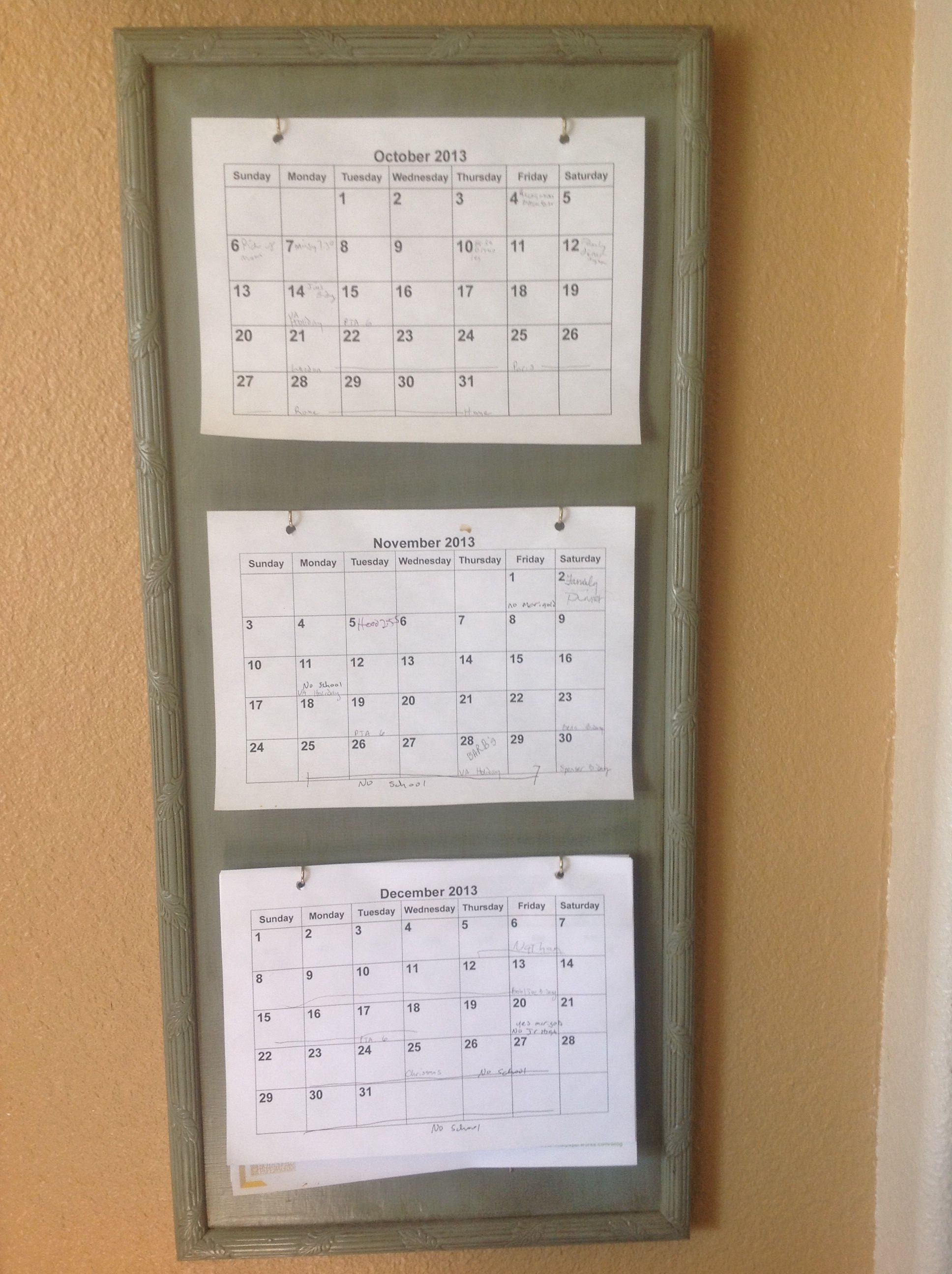 3 Month Calendar Holder Diy - Great For Planning And Organizing within Wall Calendar Frames And Holders