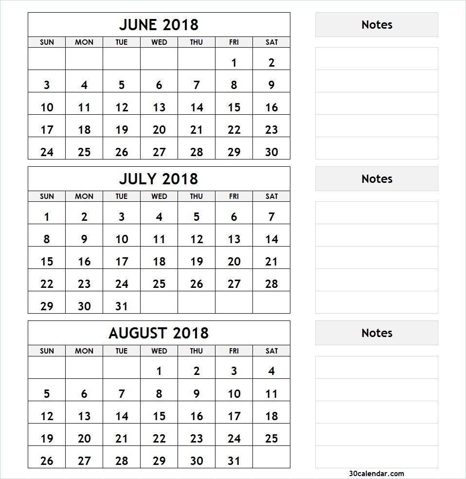 3 Month Calendar June July August 2018 | 2018 Calendar | 2018 for 3 Month Printable Calendar June July August