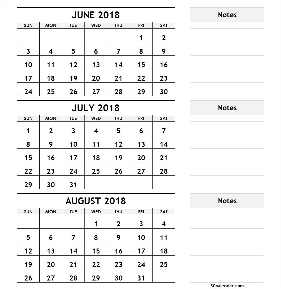 3 Month Calendar June July August 2018 | 2018 Calendar | 2018 with Calender For Last 3 Months