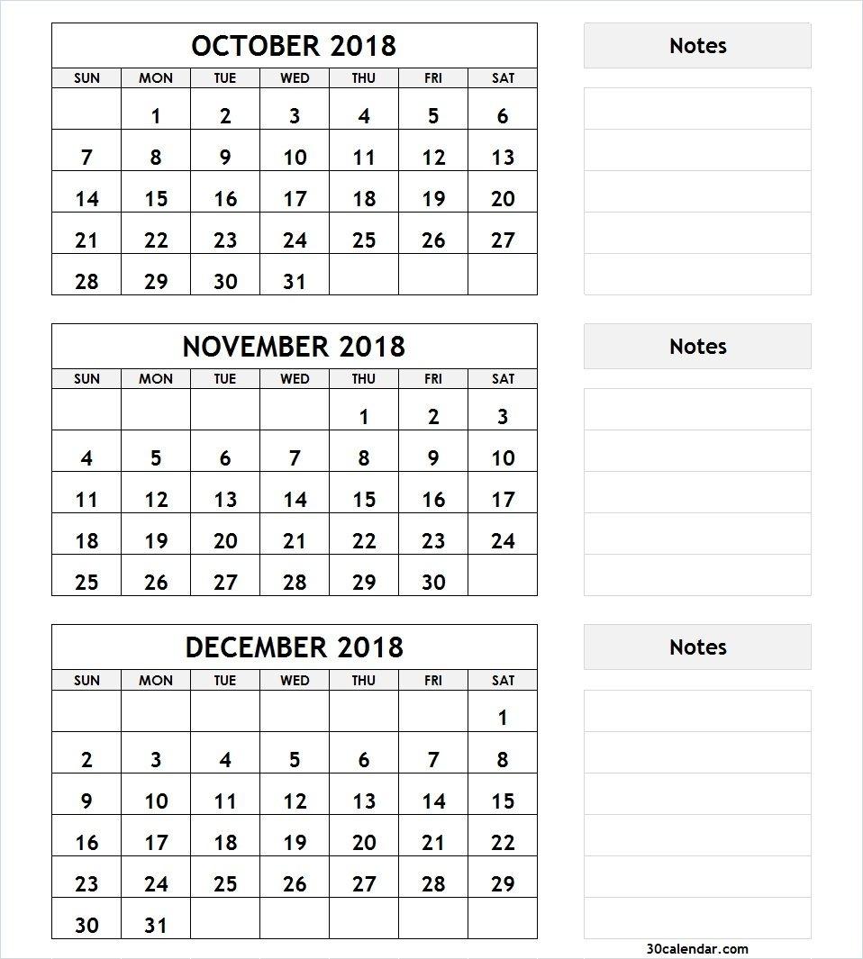 3 Month Calendar October November December 2018 | 2018 Calendar pertaining to Calender For Last 3 Months