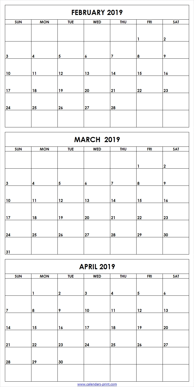 3 Monthly February March April 2019 Calendar | Editable Template in 3 Month Calendar To Print