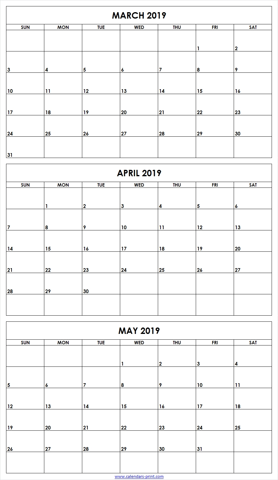 3 Monthly March April May 2019 Calendar | Editable Template for Free Printable Three Month Calendar