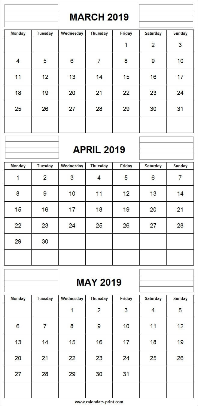 3 Monthly March April May Calendar 2019 | Editable Template inside Free 3 Month Calendars To Print