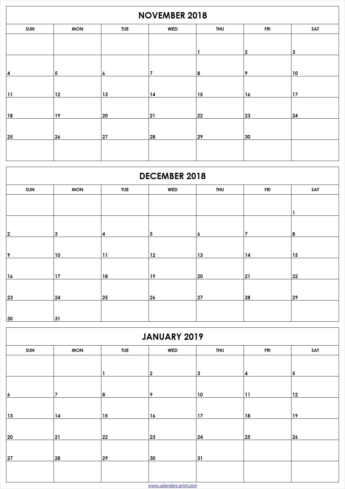 3 Monthly November December 2018 January 2019 Calendar | Editable in 3 Month Printable Calendar Template