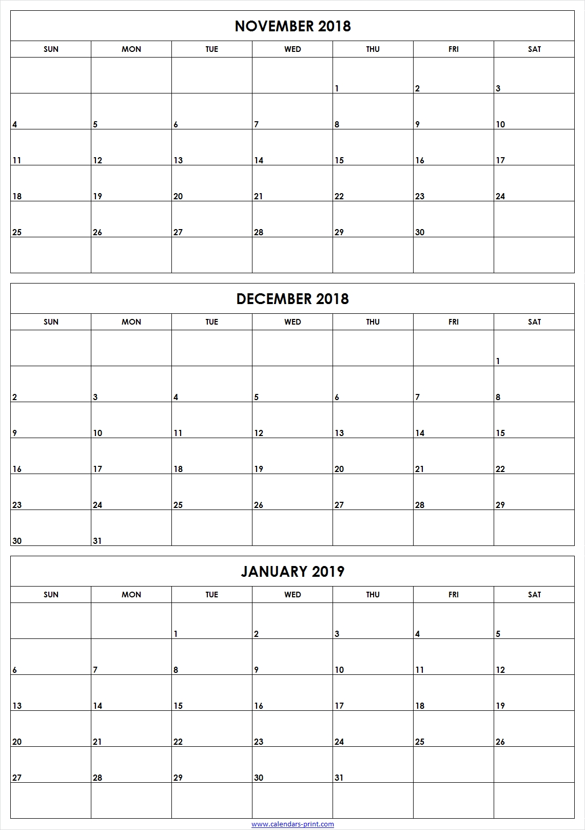 3 Monthly November December 2018 January 2019 Calendar | Editable pertaining to 3 Month Blank Calendar Template