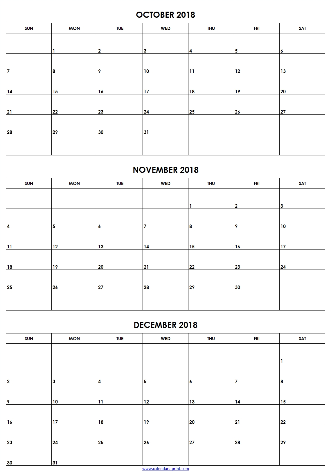 3 Monthly October November December 2018 Calendar | Editable Template for 3 Month Calendar To Ptint