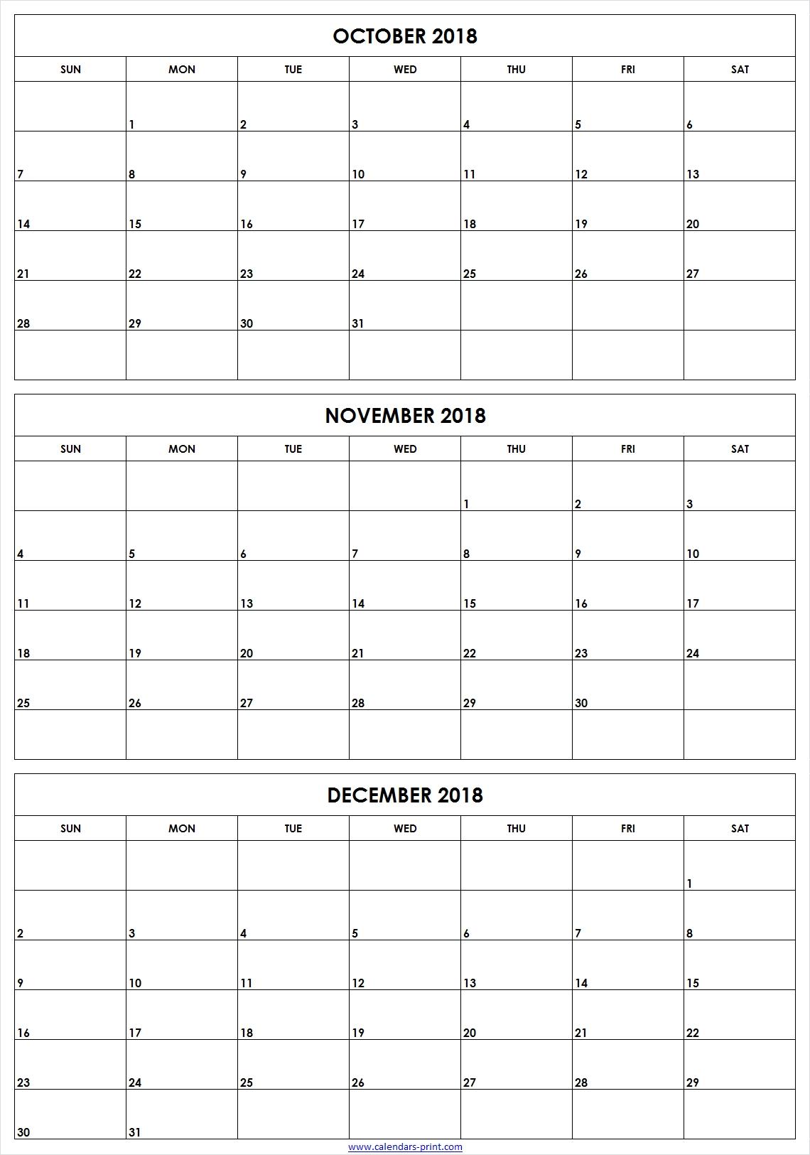 3 Monthly October November December 2018 Calendar | Editable Template within 3 Month Calendar To Print