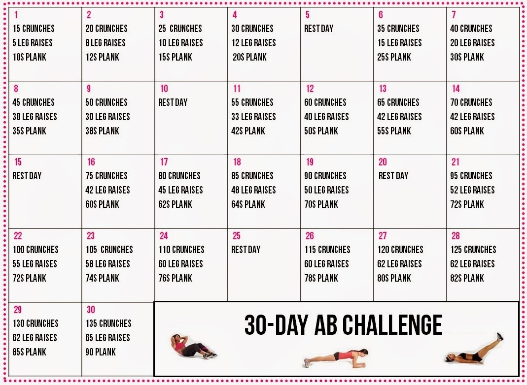 30 Day Ab Challenge Printable Calendar Online Calendar Templates throughout 60 Days Challenge Template Calender