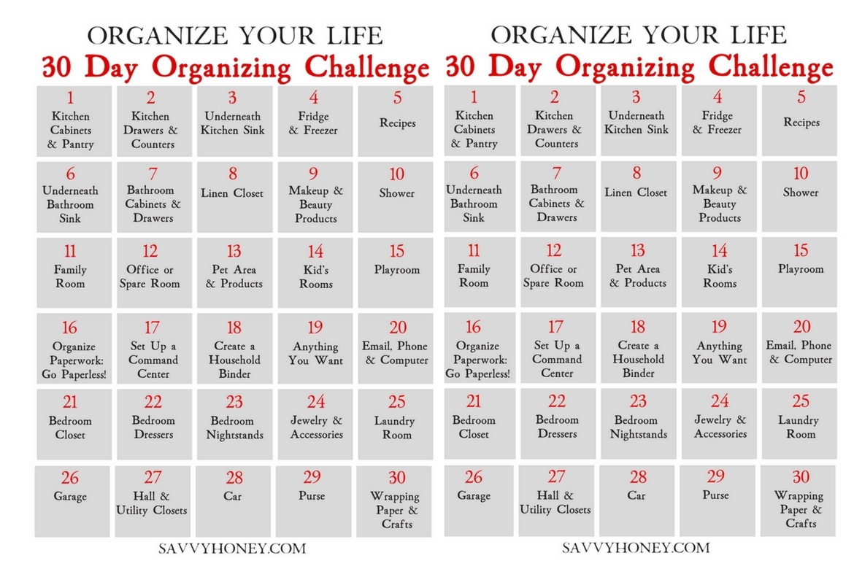 30 Day Declutter Challenge Calendar | Calendar Format Example with 30 Day Declutter Challenge Calendar