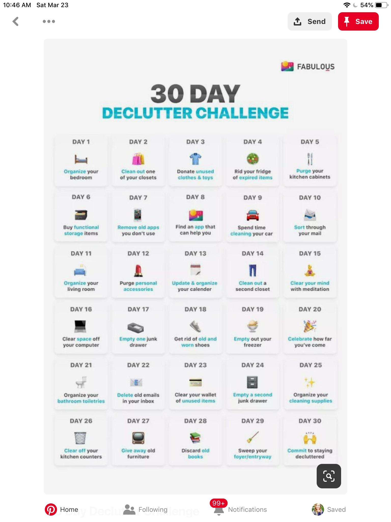 30 Day Declutter Challenge Calendar | Declutter My World within 30 Day Declutter Challenge Calendar