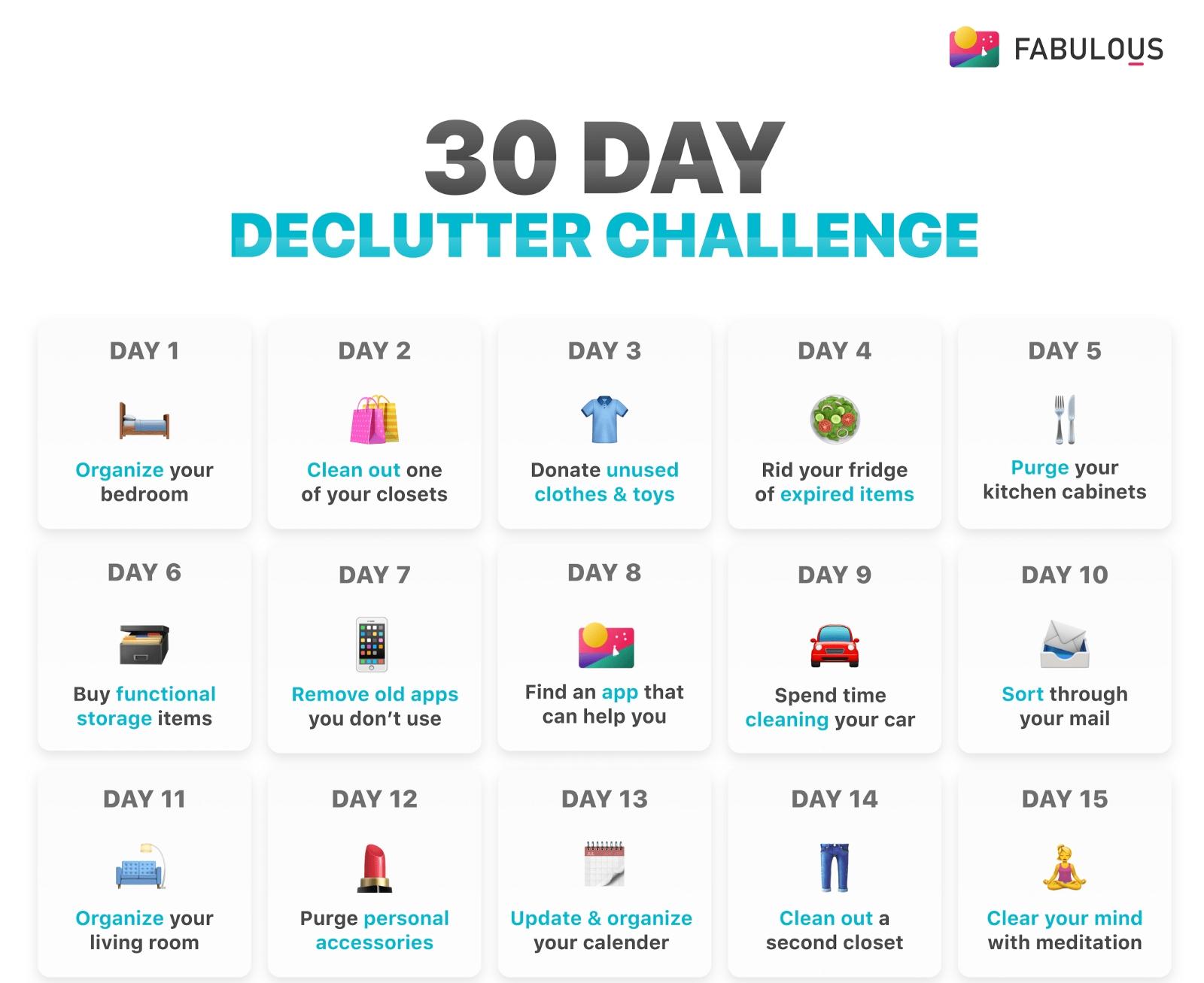 30 Day Declutter Challenge – Minimalist.mindset – Medium inside 30 Day Declutter Challenge Calendar