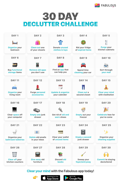 30 Day Declutter Challenge – Minimalist.mindset – Medium with 30 Day Declutter Challenge Calendar