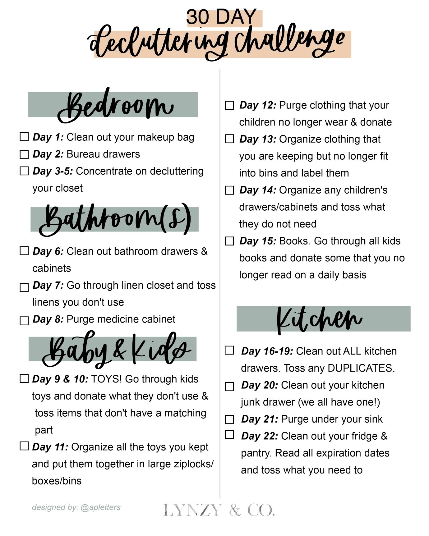 30 Day Decluttering Challenge & Printable - Lynzy & Co. throughout 30 Day Declutter Challenge Calendar