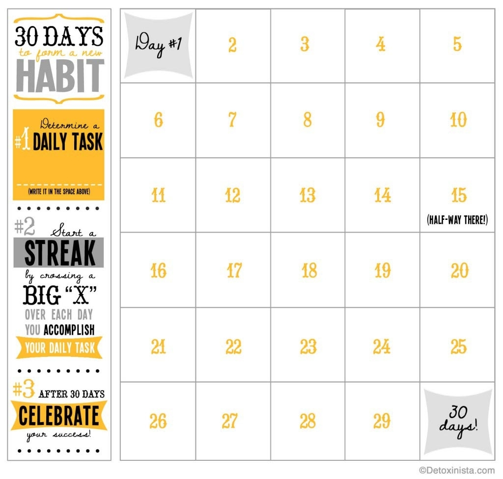 30-Day Printable Calendar | Detoxinista with regard to Calendar By Day With Printable