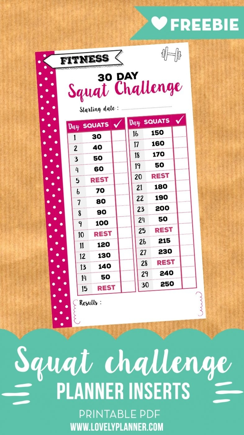 30 Day Squat Challenge Free Printable Insert For Personal Planners for 60 Days Challenge Template Calender