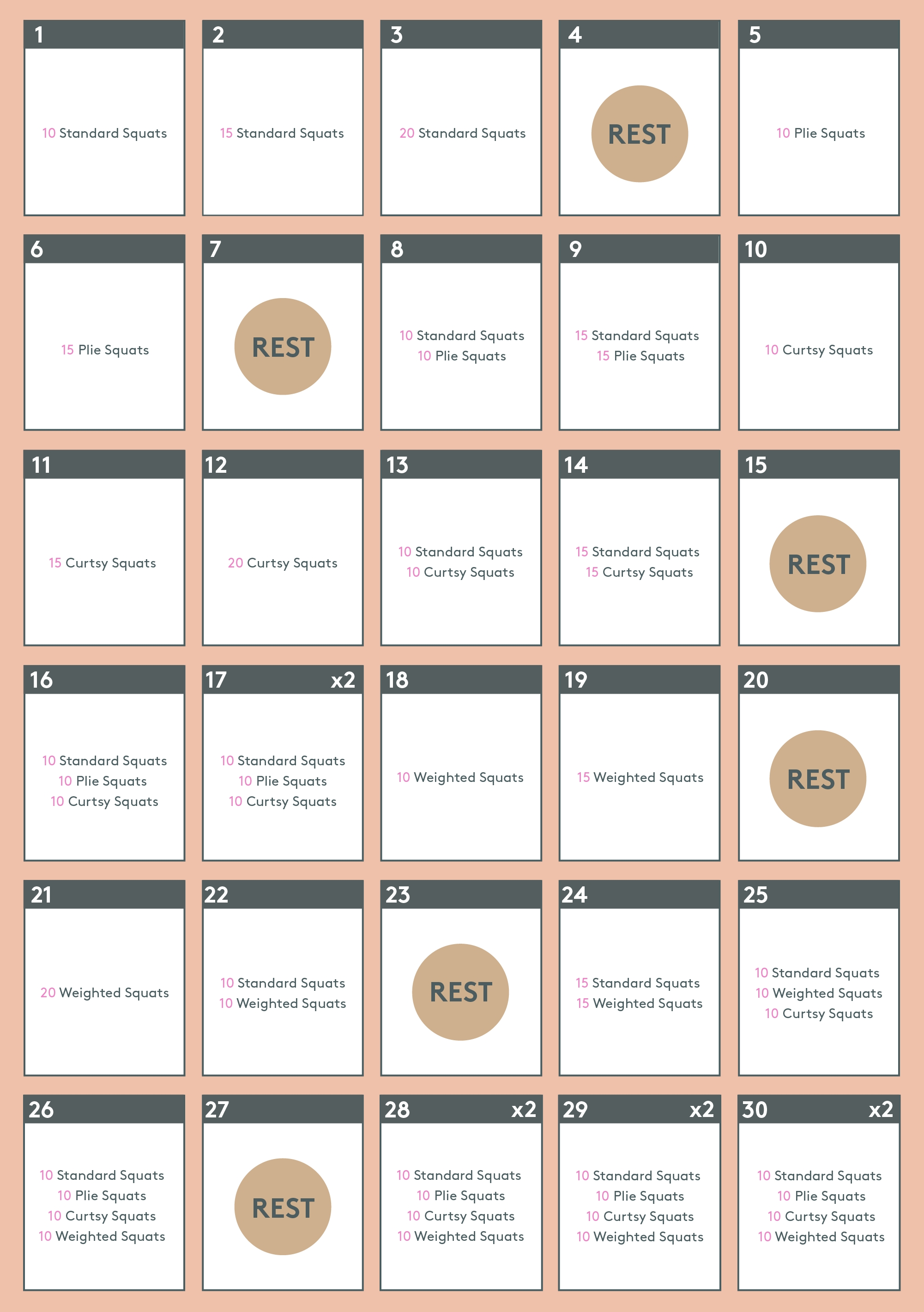 30 Day Squat Challenge To Strengthen Butt & Lower Body throughout 30 Day Inner Thigh Challenge Calendar