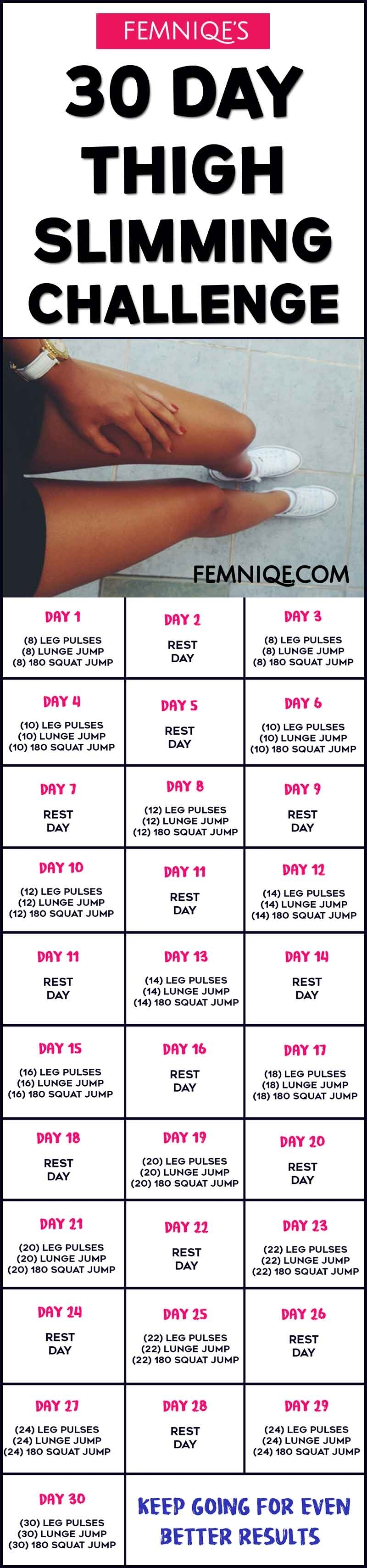 30 Day Thigh Slimming Challenge (Meal Plan Inside) – Femniqe in 30 Day Inner Thigh Challenge Calendar