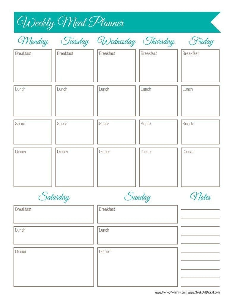 30 Days Of Free Printables: Weekly Meal Planner Worksheet | The Body for Calendar Weekly Menu Print Outs