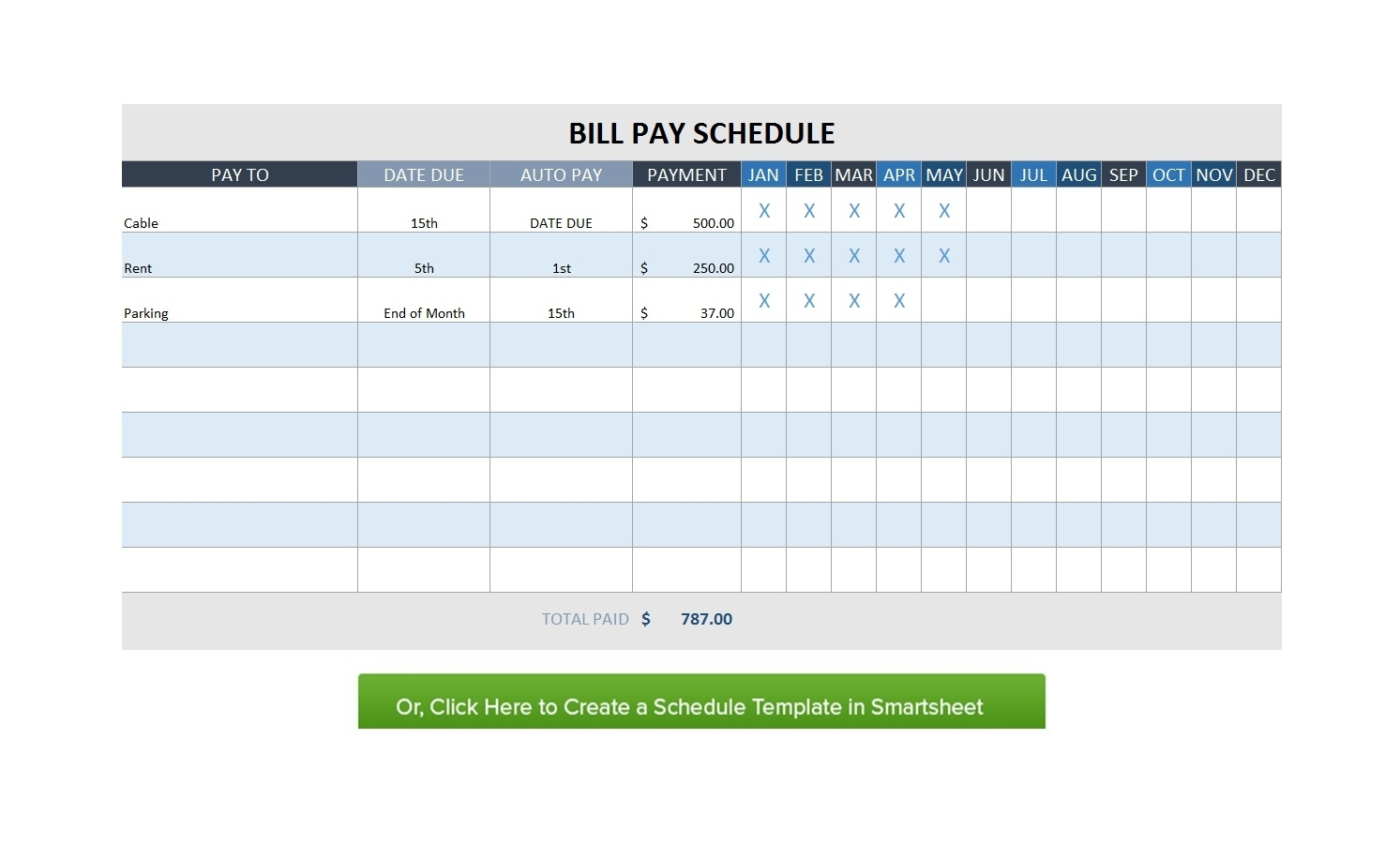 32 Free Bill Pay Checklists & Bill Calendars (Pdf, Word & Excel) for Free Printable Monthly Bill Pay Chart
