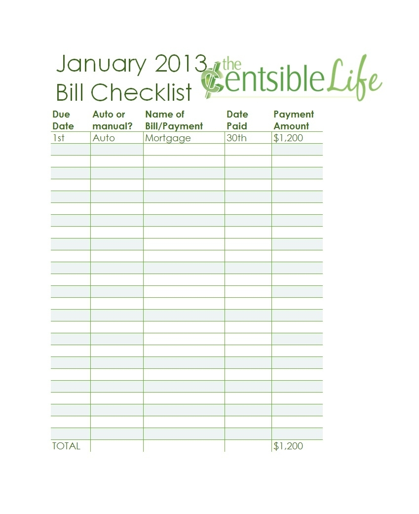 32 Free Bill Pay Checklists & Bill Calendars (Pdf, Word & Excel) in Free Printable Bill Payment Template