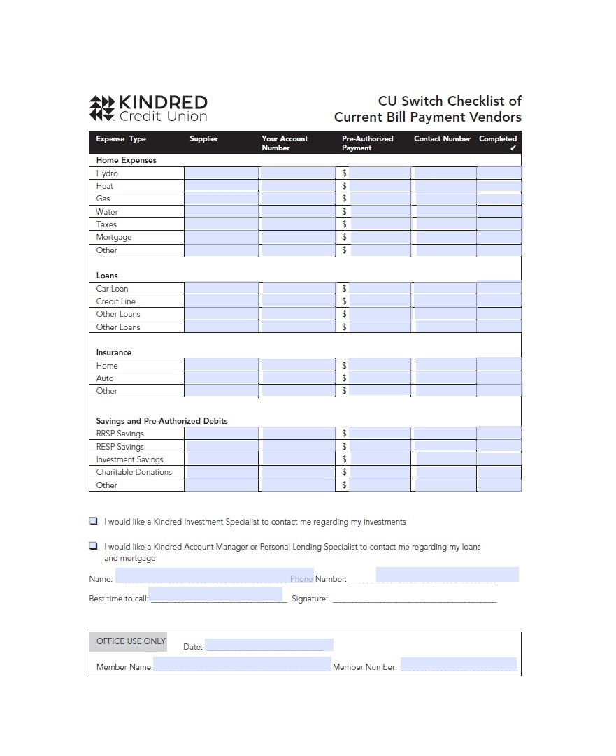 32 Free Bill Pay Checklists & Bill Calendars (Pdf, Word & Excel) with Utility Bills Payment Printable List