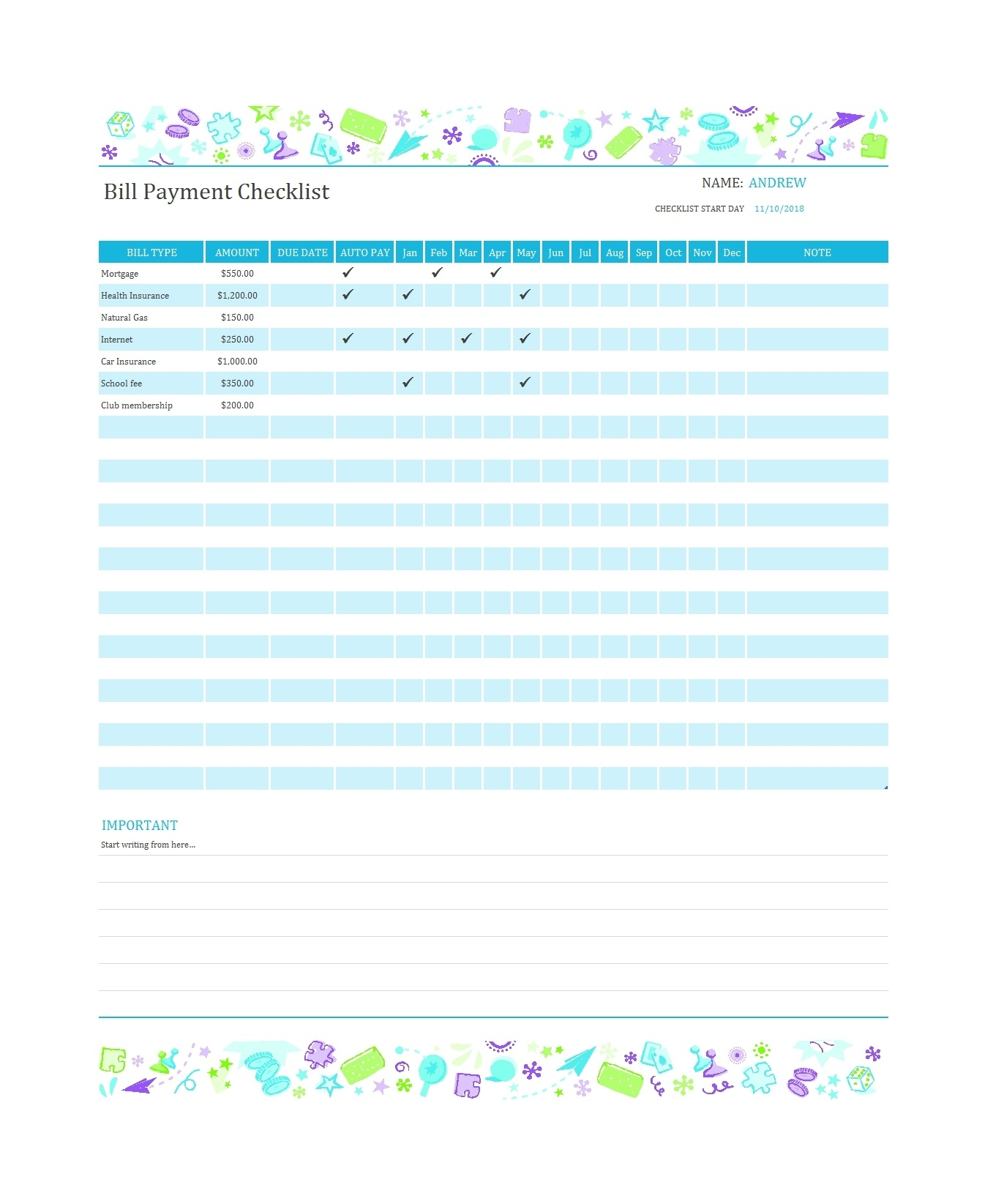 32 Free Bill Pay Checklists & Bill Calendars (Pdf, Word & Excel) within Blank Monthly Bills Calendar Printable