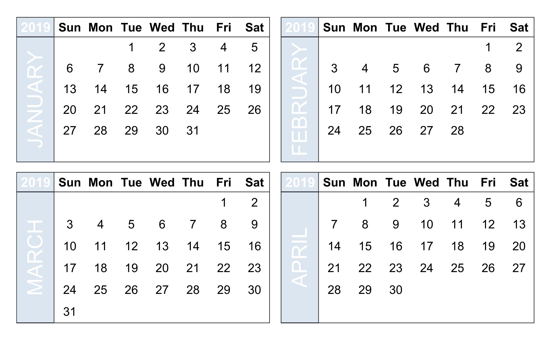 4 Month Calendar 2019 • Printable Blank Calendar Template in Blank Four Month Calendar Template