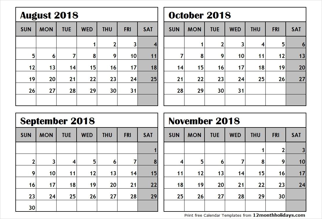 4 Month Calendar Template | Printable Calendar Templates 2019 intended for Blank Four Month Calendar Template