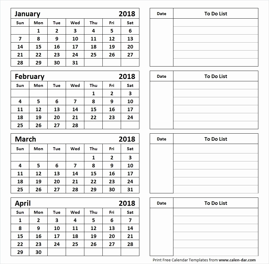 4 Month Calendars Printable Printable Calendar 4 Months Per Page with regard to 4 Months Per Page Calendar Printable