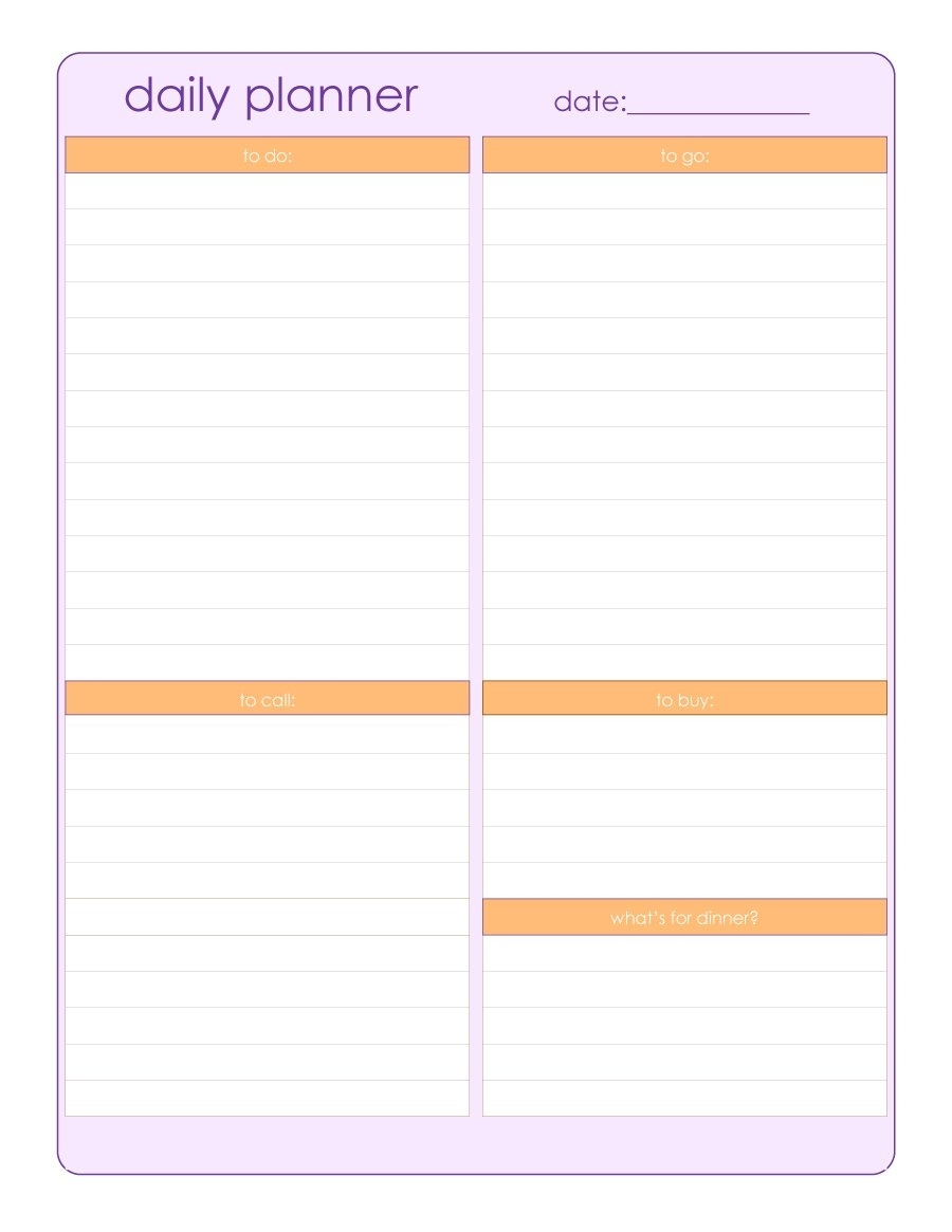 40+ Printable Daily Planner Templates (Free) ᐅ Template Lab inside Free Blank Day Planner With A Timeline