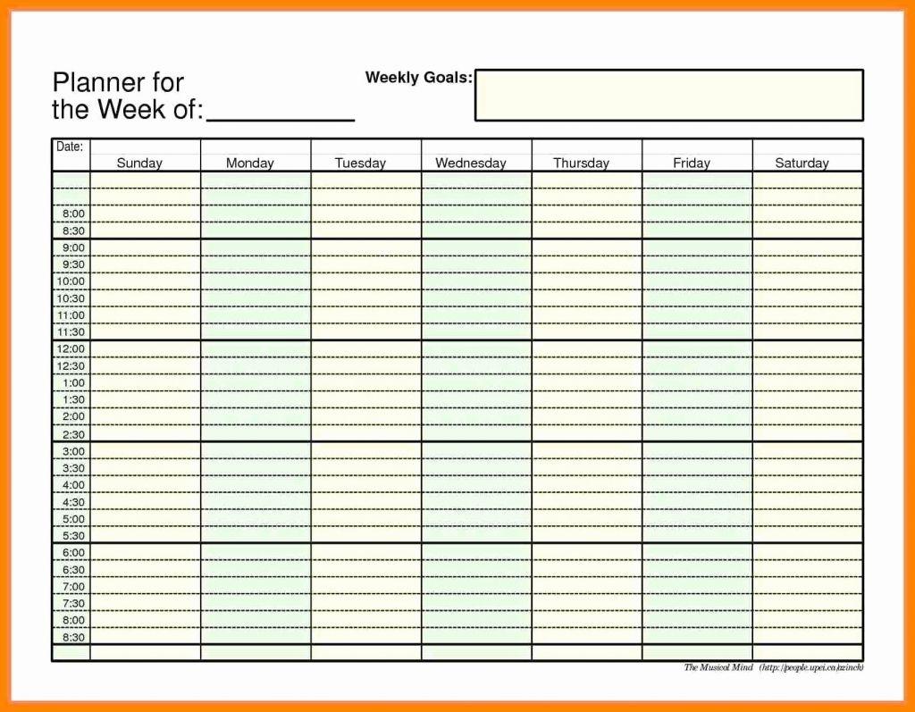 45 Weekly Calendar With Time Slots Weekly Calendar Template 2018 pertaining to Calendar With Time Slots Printable