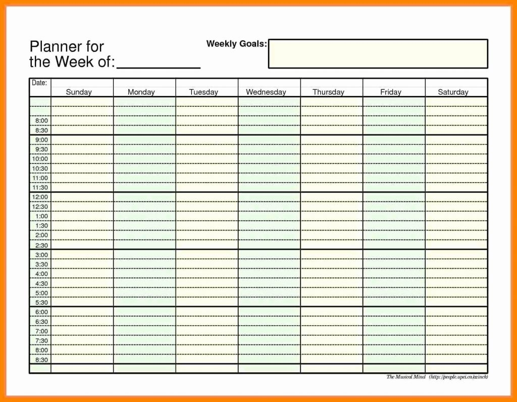 45 Weekly Calendar With Time Slots Weekly Calendar Template 2018 throughout Weekly Calendar With Time Slots Printable