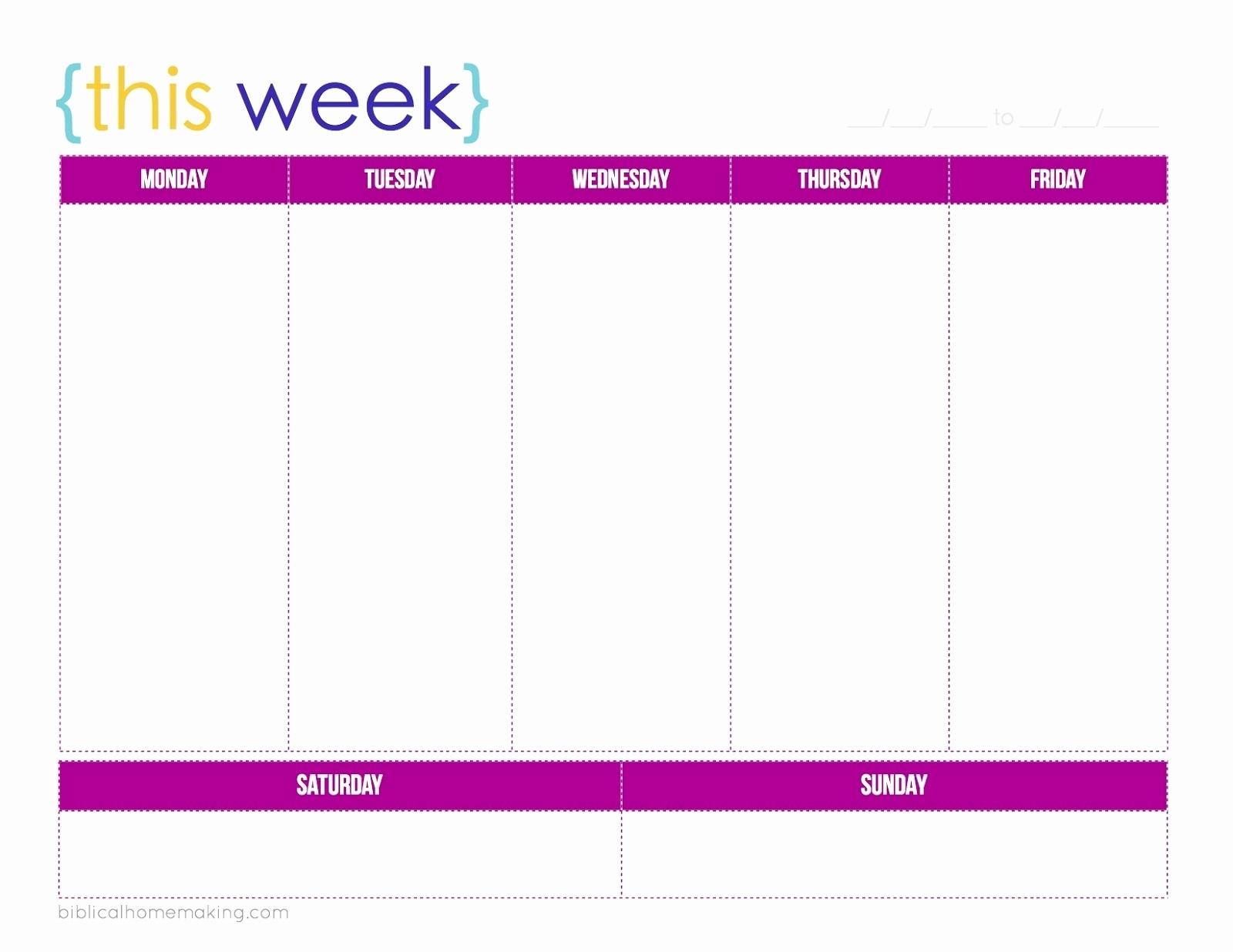 5 Day 7 Week Calendar Printable Free Monday Through Friday Schedule with Monday Through Friday Weekly Calendar