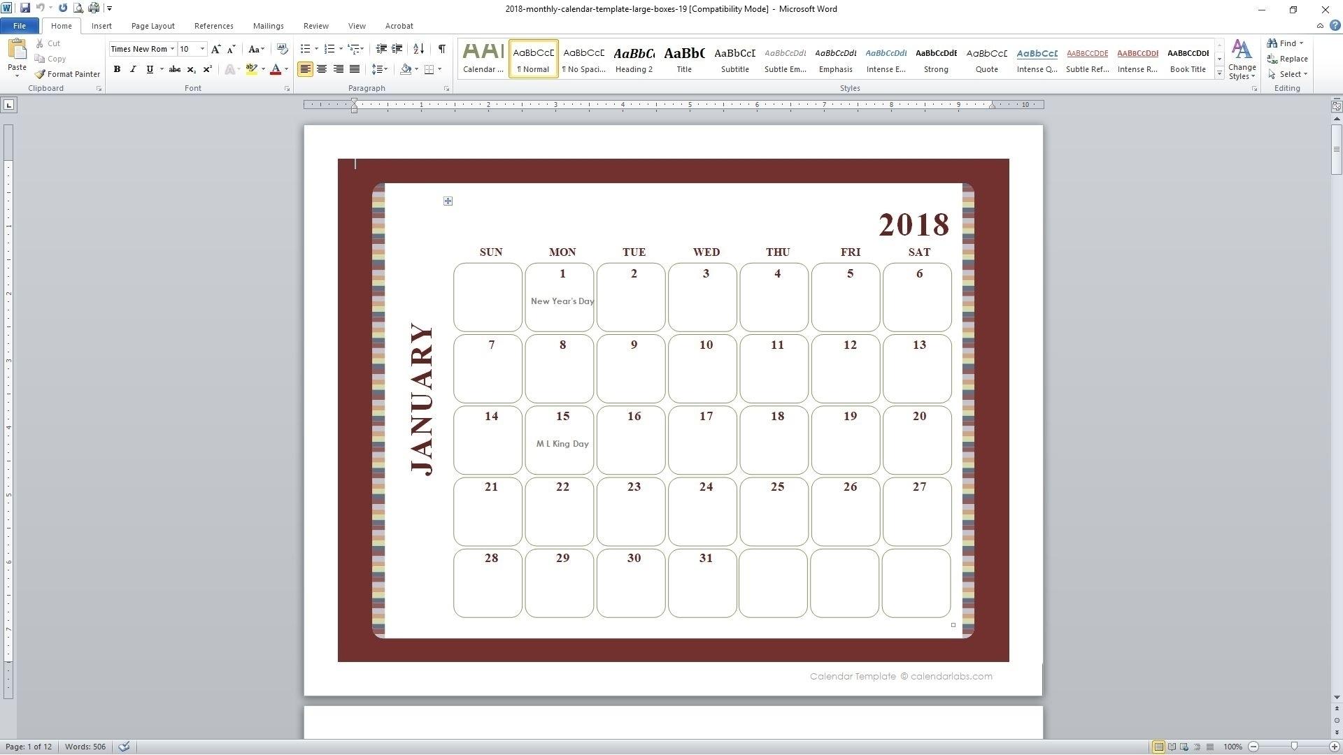 5 Day Monthly Calendar • Printable Blank Calendar Template inside 5 Day Calendar Template Word