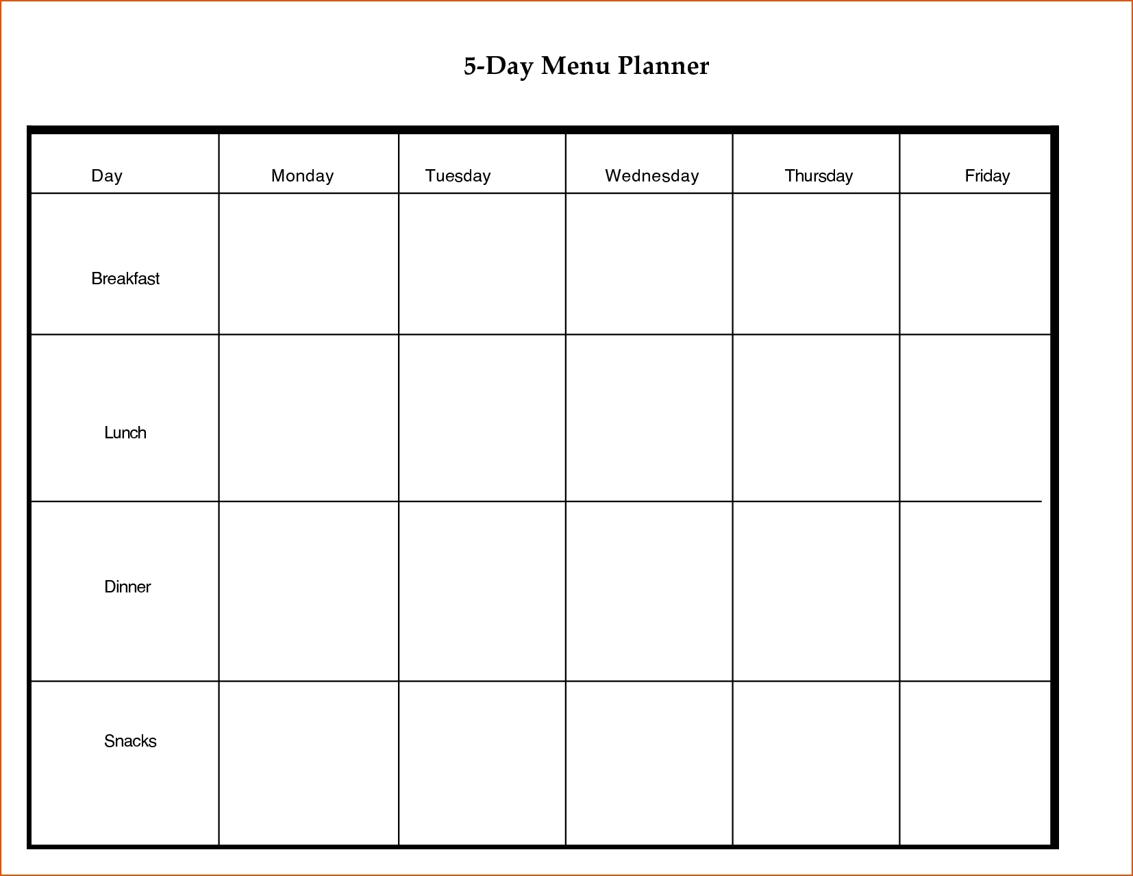 5 Day Week Blank Calendar With Time Slots Printable | Template for Blank Calendar 5 Day Week With Times