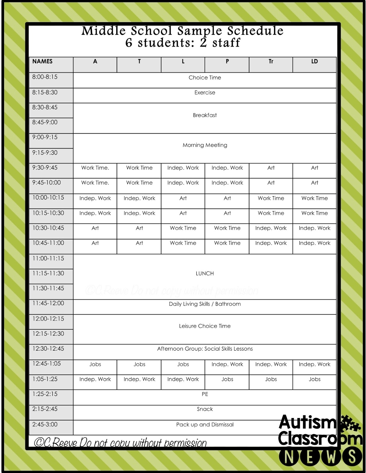 5 Examples Of Setting Classroom Schedules In Special Education intended for Blank 5 Day School Timetable