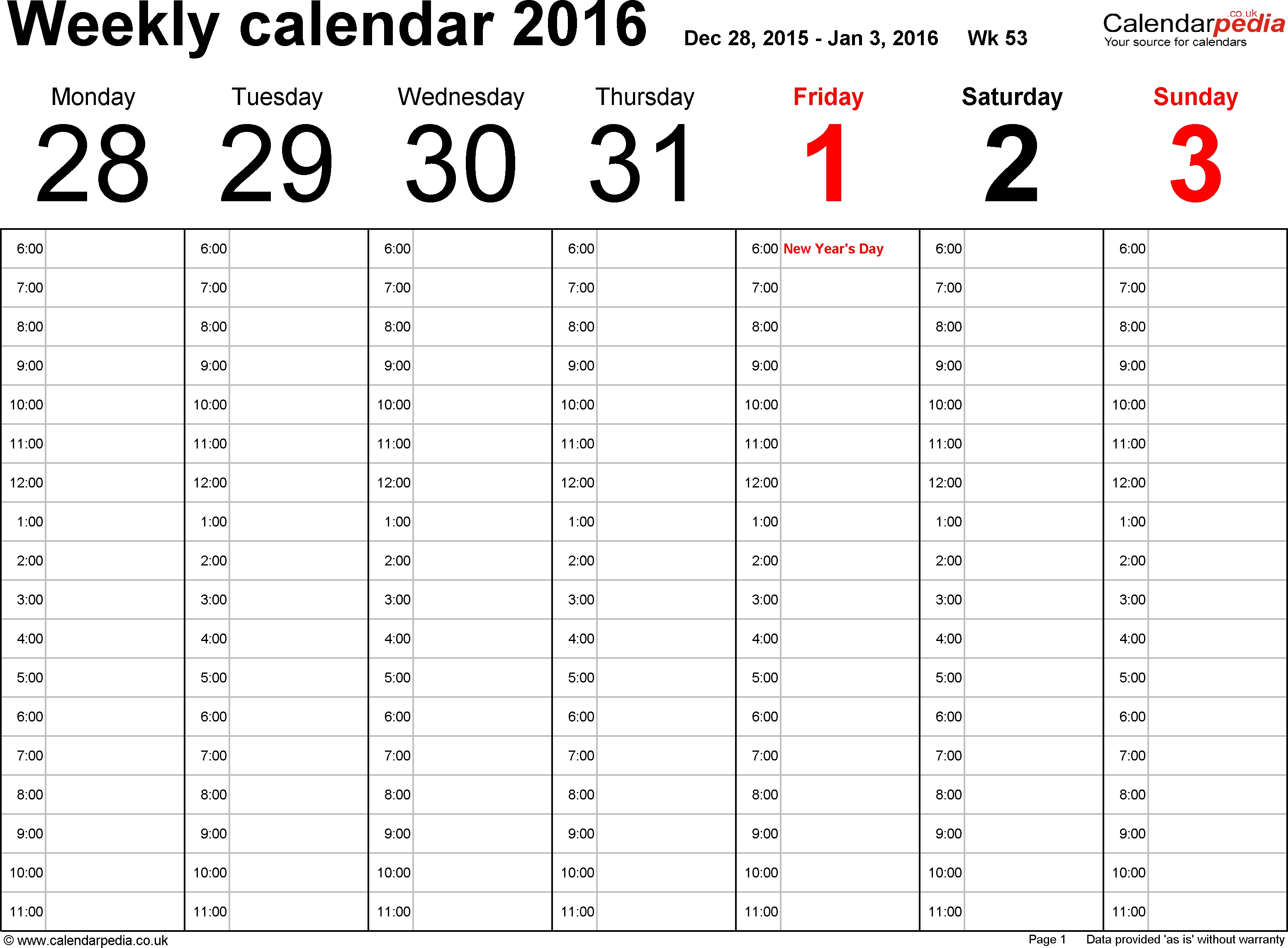 5 Weekly Calendar Templates - Excel Pdf Formats regarding Emplyee Schedule Template Starting Friday
