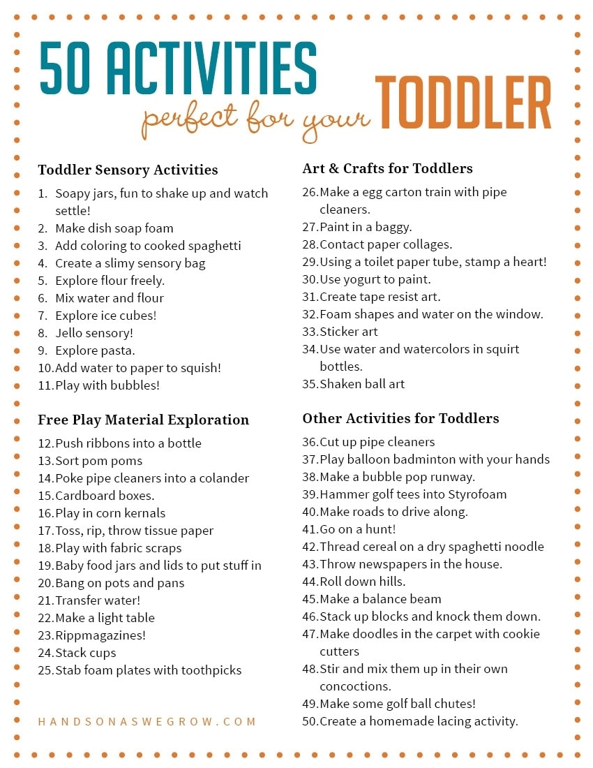50 Activities For Toddlers From Hands On As We Grow intended for Daily Summer Activities For Preschoolers