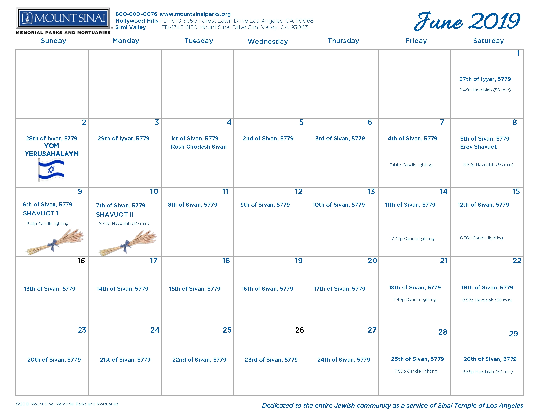 5779 Hebrew Calendar - Mount Sinai Memorial Parks And Mortuaries throughout A Hebrew Calendar To Print