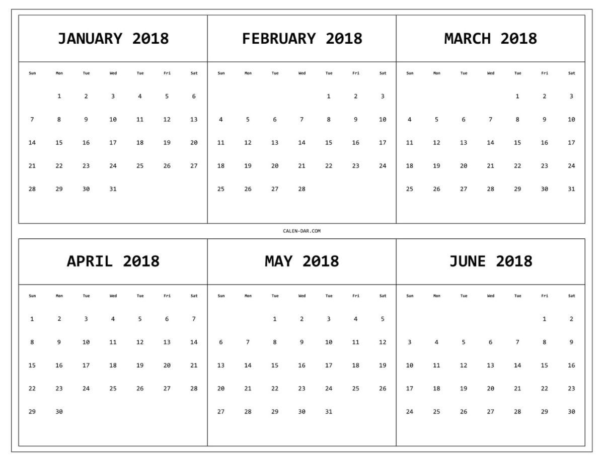 6 Month One Page Printable Calendar 2018 Maxcalendars Pinterest pertaining to 3 Month On One Page Printable