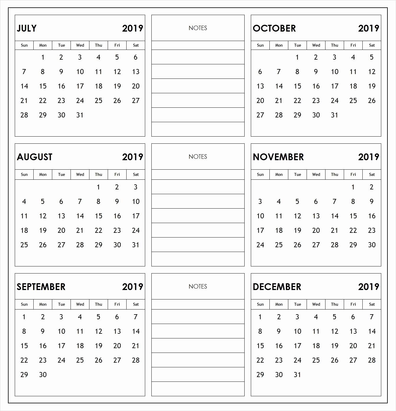 6 Month Per Page Printable Calendar 2019 2019 6 Months Half Year with regard to Printable Calendar 6 Months Per Page