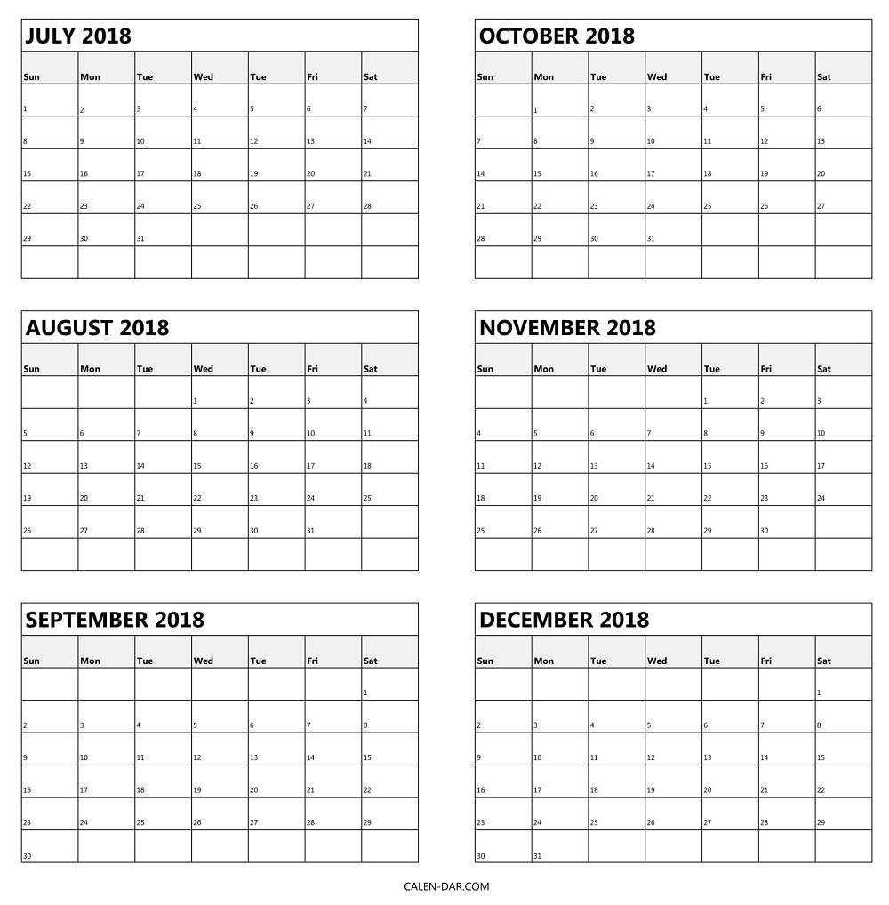 6 Month Printable Calendar Printable Calendar Templates 2018 At Six within Printable Calendar 6 Months Per Page
