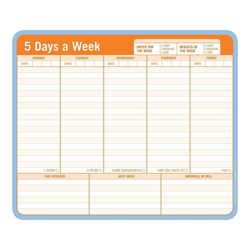 60 Sheets 5 Days A Week Paper Mousepad Note List Schedule Planner throughout 8 Days A Week Planner