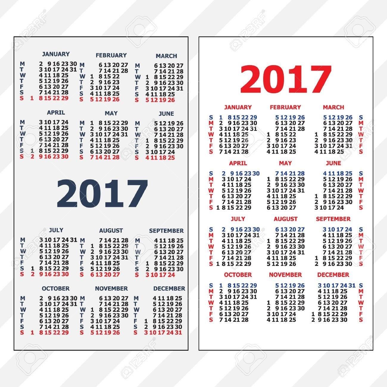 61835390 2017 Pocket Calendar Template Calendar Grid Vertical throughout Grid Of 31 Days Image
