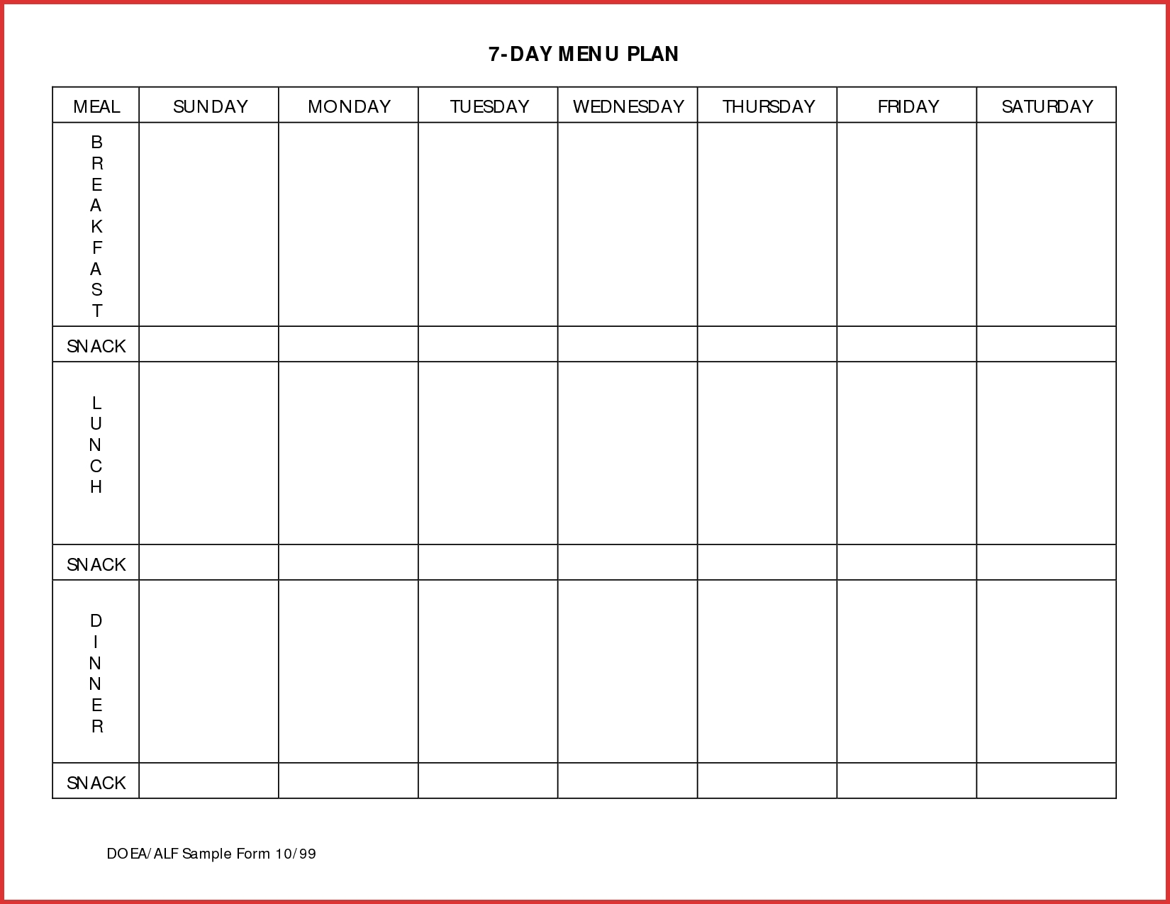 7 Day Meal Planner Template | Template Calendar Printable regarding Printable 7-Day Calendar Template Monday Starts With That