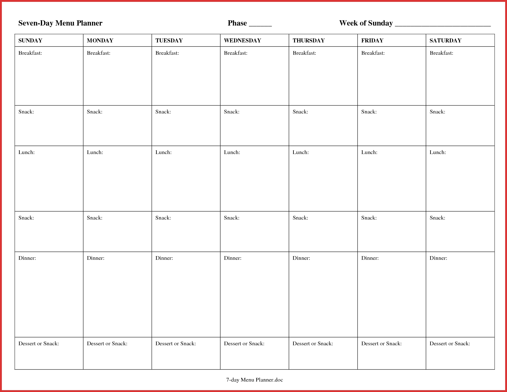 7 Day Menu Planner - Maco.palmex.co regarding 7 Day Meal Planner Template
