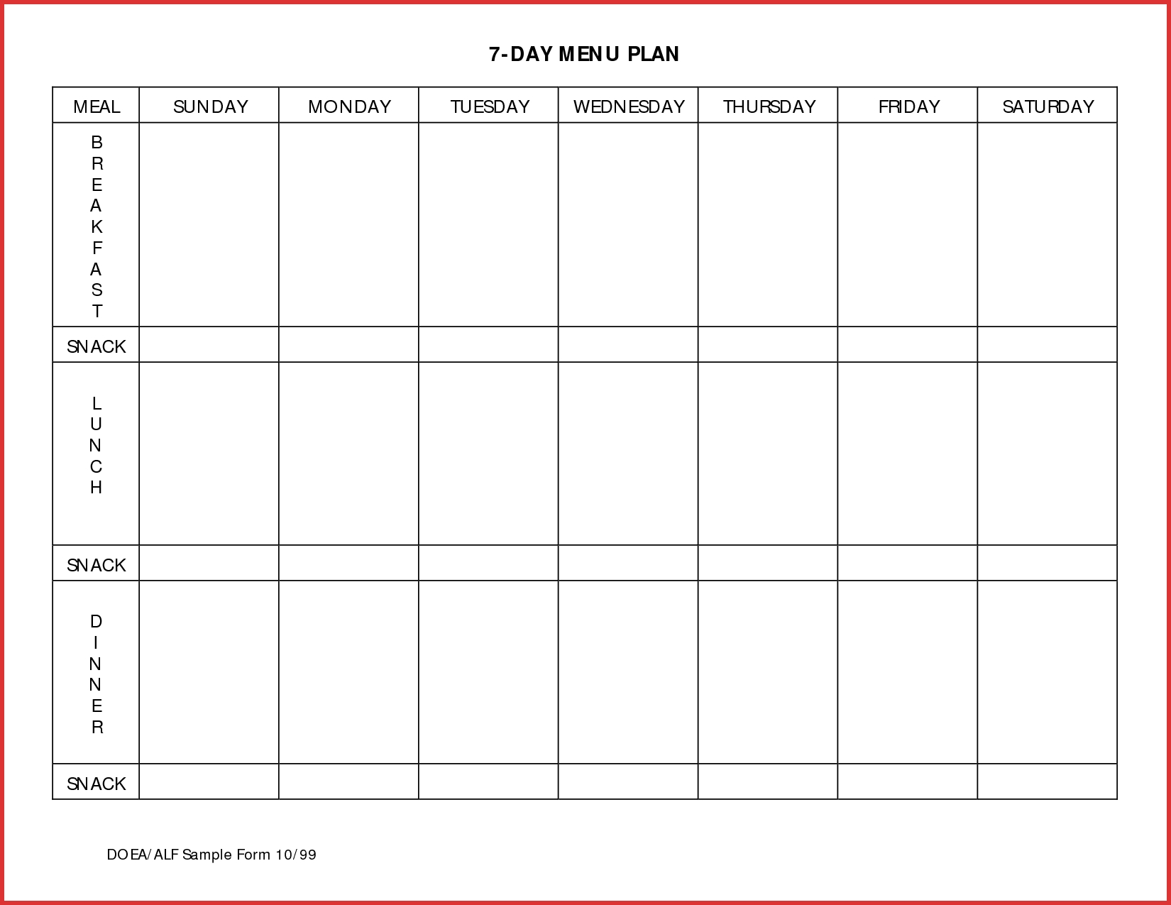 7 Day Menu Planner - Maco.palmex.co regarding 7 Day Weekly Planner Template Printable