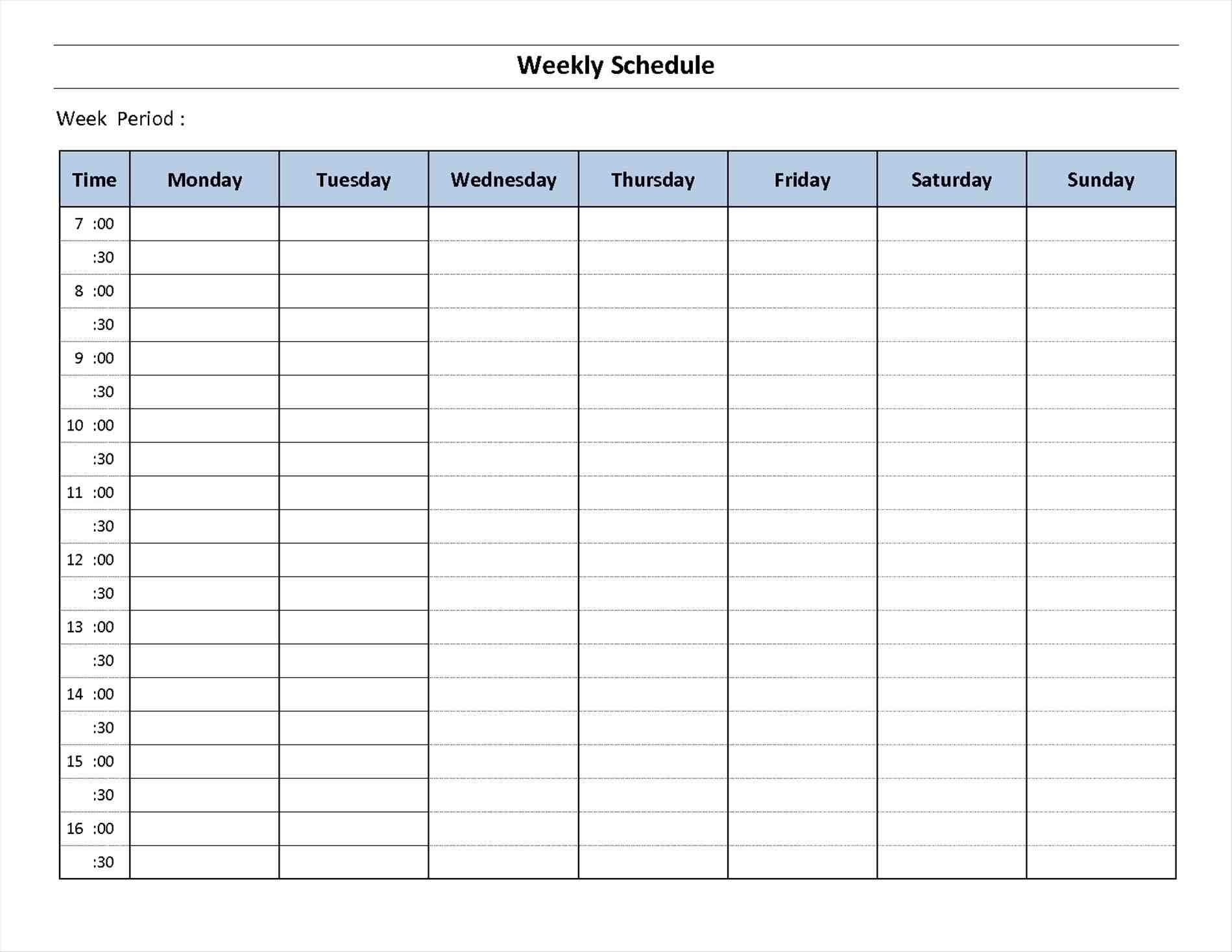 7 Day Week Calendar Printable   Template Calendar Printable regarding 7 Day Calendar Template Printable
