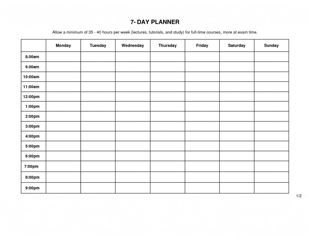7 Day Weekly Planner Printable | Template Calendar Printable within 7 Day Weekly Planner Template Printable