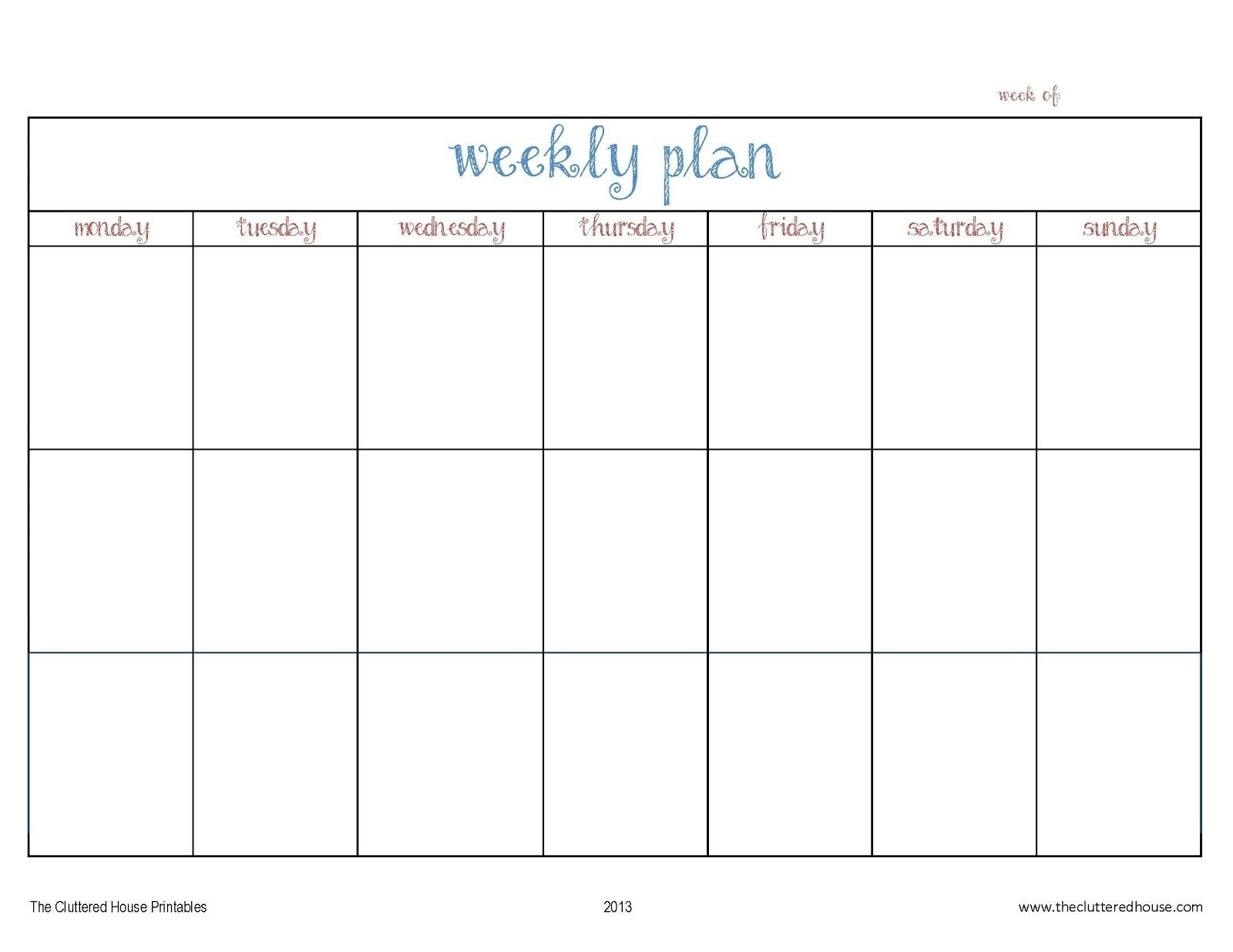 7 Day Weekly Planner Template Printable – Template Calendar Design in 7 Day Week Blank Calendar Printable